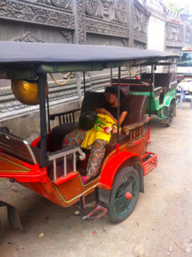 Cambodian Moments Woman And Child Sleeping In Tuk Tuk