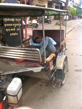 Cambodian Moments sleeping tuk tuk