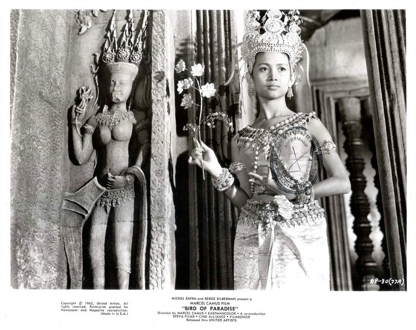 Promotional stills of Cambodian actress Narie (Nary or Naric) Hem in Marcel Camus film Bird of Paradise (1963)