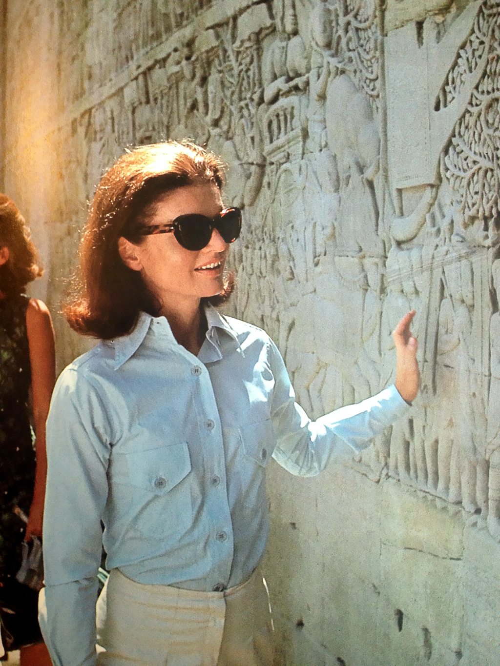 Jackie Kennedy at Angkor Wat, 1967.
