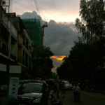 Sunset over Phnom Penh, Cambodia.
