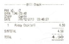 "Pontoon ""pussy"" cocktail receipt."