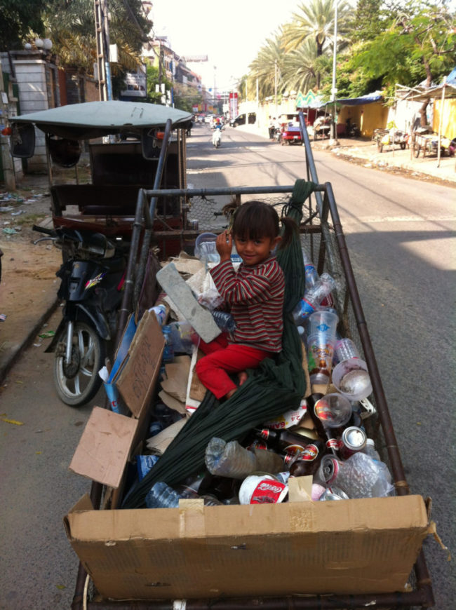 Baby in cart-Recycling in Cambodia