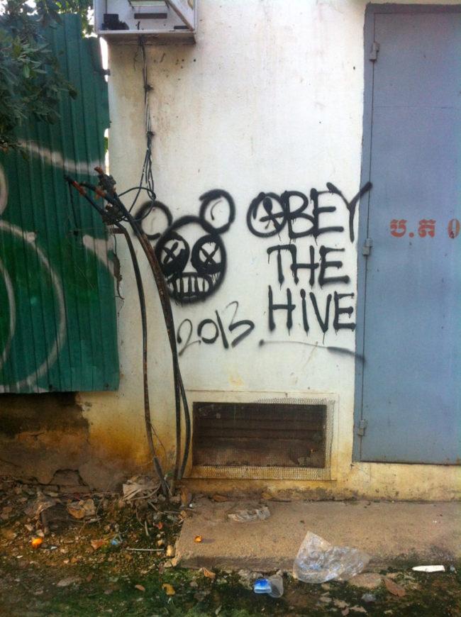 Phnom Penh Graffiti Obey the Hive