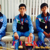 Cambodian figure skaters prepare for first foreign test in a shopping mall