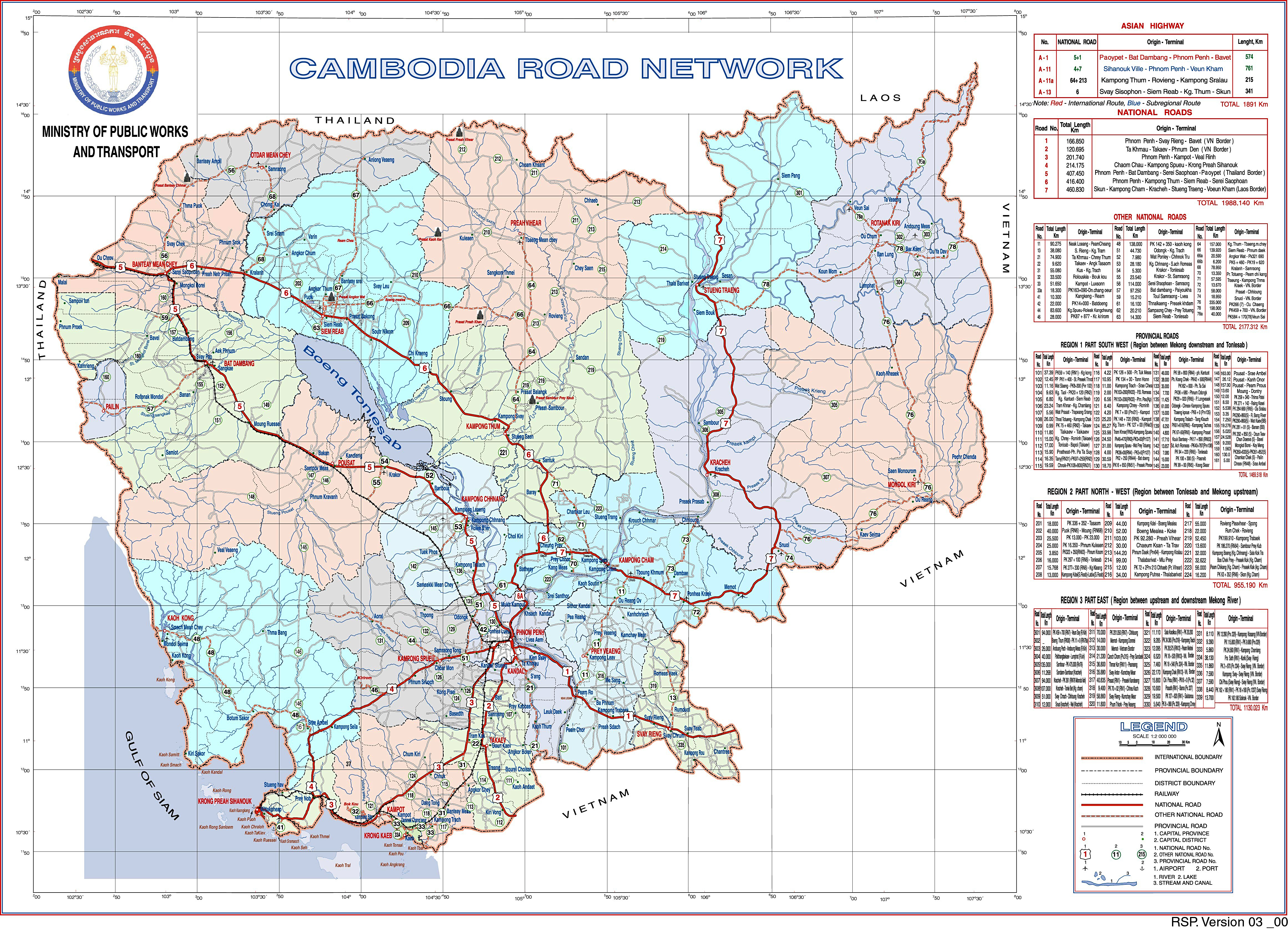 Brought to you by The Ministry of Public Works and Transport – A Tidy Map of the National and Provincial Roads of Cambodia