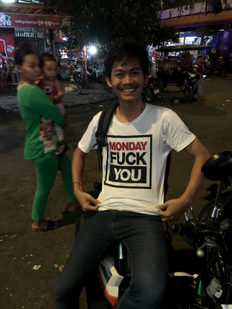 Phnom Penh, Sunday Night around 8pm… and he's just rolling in!