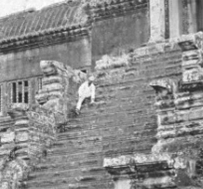 Angkor Mystery. Angkor Wat Circa 1866 ~ Who's The Guy In The Boilersuit? - Close Up
