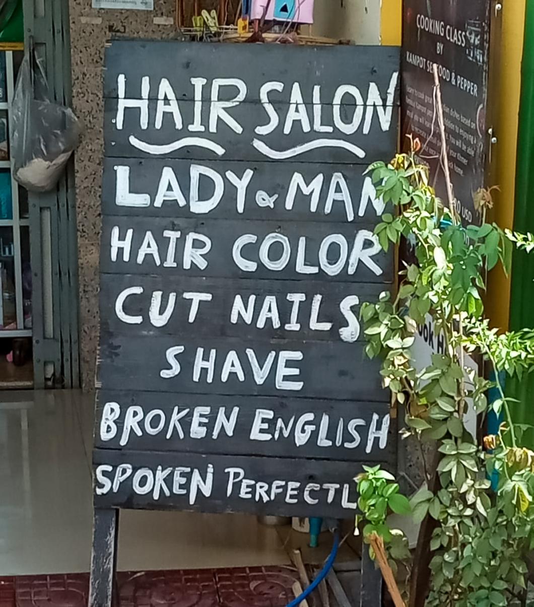 Broken english spoken perfectly sign.